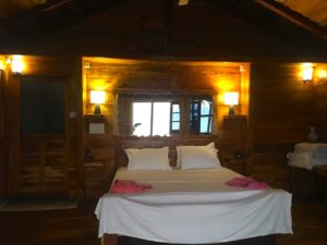 Top Deluxe Ocean View Cottage - Bedroom at Night